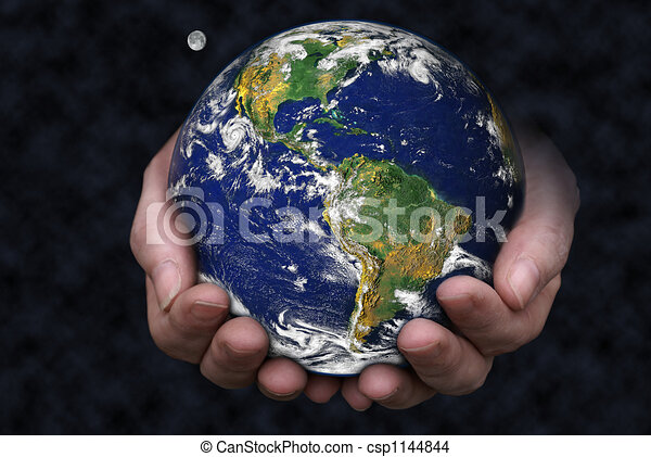 holding the earth a pair of hands holding the earth with the moon rh canstockphoto com hand holding earth hand holding art