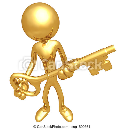 Holding The Golden Key 3d Concept And Presentation Figure