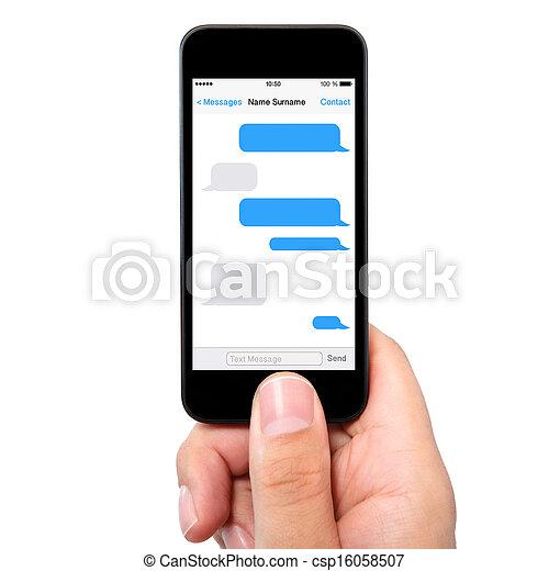 holdingen, avskärma, sms, isolerat, hand, ringa, pratstund, man - csp16058507