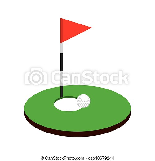 Hole Golf Sport With Flag Icon Vector Illustration Design Eps Vector