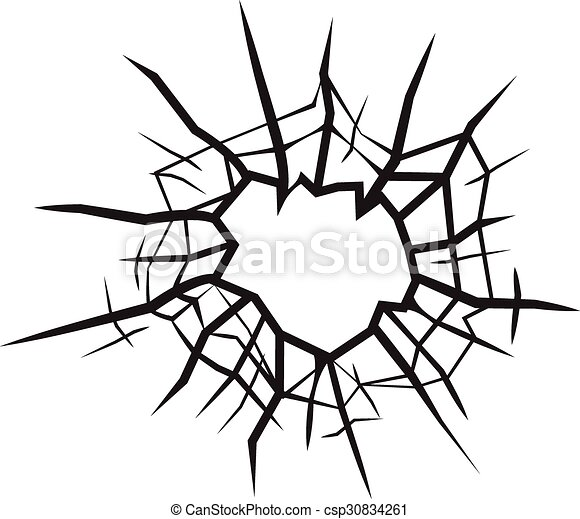 hole in glass cracked glass black and white clip art vector search rh canstockphoto ca  broken drinking glass clipart