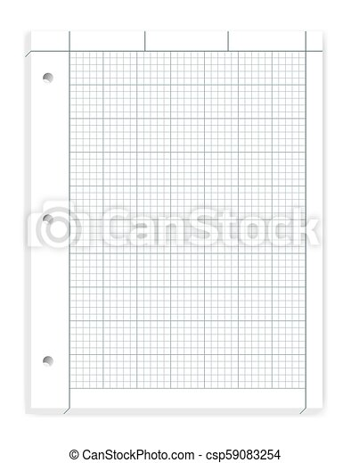 Hole Punched Filler Paper For 3 Ring Binder Vector Mockup Engineering Computation Loose Leaf Notebook Of Quad Ruled Sheets Isolated On White Background