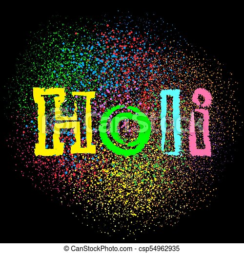 holi colors text on black dark background - csp54962935