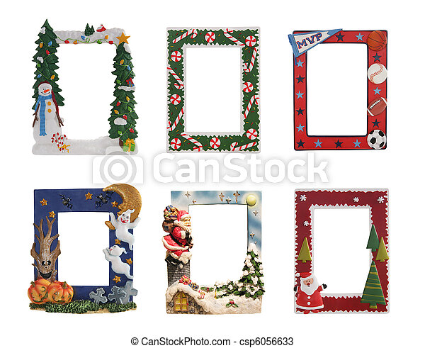 Holiday and sports themed picture frames. Christmas, halloween and ...
