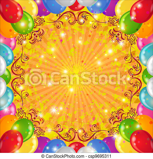 Holiday background with balloons - csp9695311