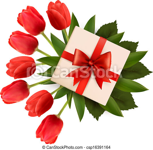 Holiday background with bouquet of red flowers and gift box. Vector illustration. - csp16391164