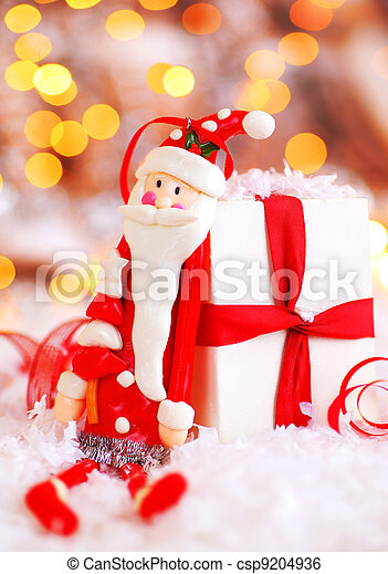 Holiday background with cute Santa decoration - csp9204936