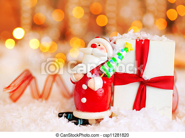 Holiday background with cute Santa decoration - csp11281820