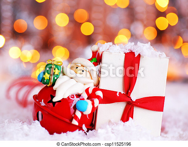Holiday background with cute Santa decoration - csp11525196