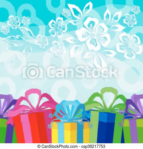 Holiday Background with Gift Boxes - csp38217753