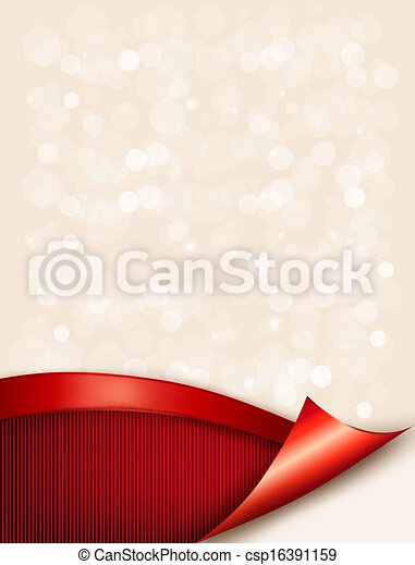 Holiday background with gift glossy bow and ribbon. Vector illustration. - csp16391159