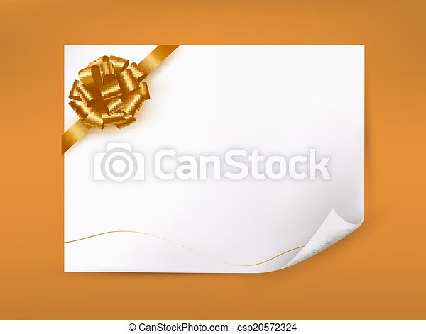 Holiday background with gift glossy bow and ribbon. Vector - csp20572324