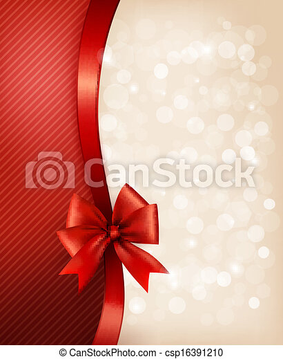 Holiday background with gift glossy bow and ribbon. Vector illustration. - csp16391210