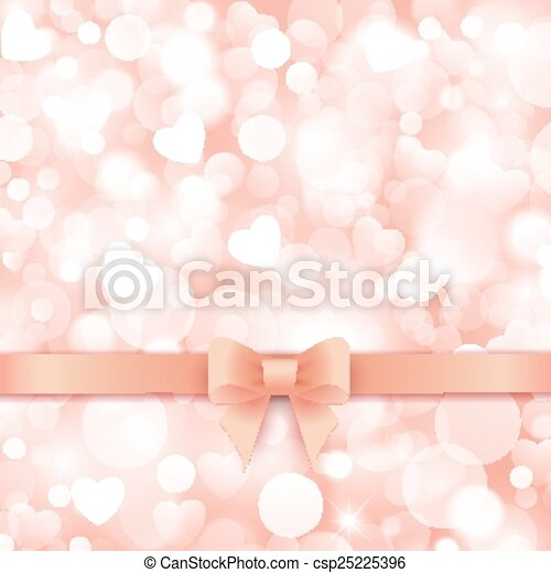 Holiday background with gift pink bow and ribbon. - csp25225396