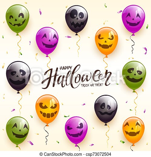 Holiday Background with Halloween Balloons - csp73072504