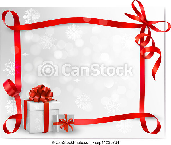 Holiday background with red gift bow with gift boxes. Vector illustration. - csp11235764