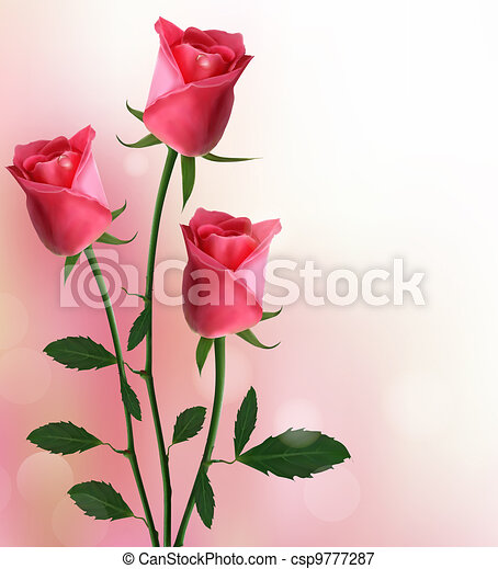 Holiday background with red roses - csp9777287