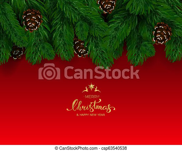 Holiday Background with Season Wishes and Border of Realistic Lo - csp63540538