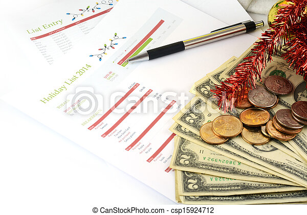 holiday budget with money - csp15924712