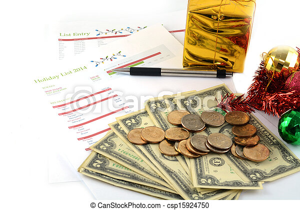 holiday budget with money - csp15924750