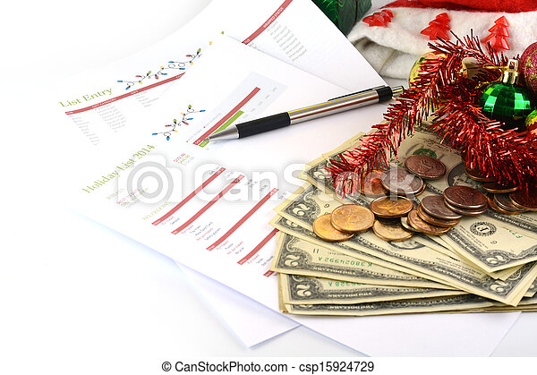 holiday budget with money - csp15924729