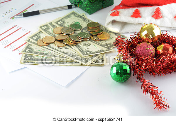 holiday budget with money - csp15924741