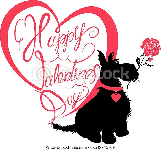 Holiday card. Calligraphic hand written text Happy Valentine`s Day in heart shape and scottish terrier dog silhouette with rose, isolated on white background. - csp42745769