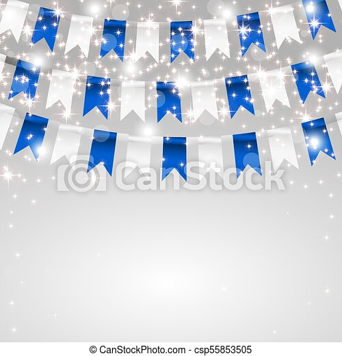 Holiday card. Making flags in the colors of the flag of Bavaria - csp55853505