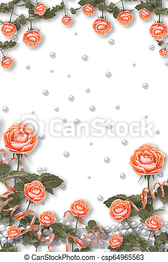 Holiday card with pearls and bouquet of beautiful red ...