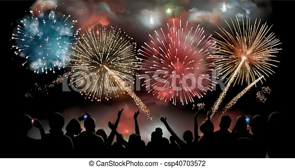 Holiday Celebration with fireworks show at night, silhouette of people watching a festive fireworks display, vector background - csp40703572