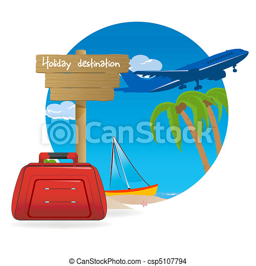 Illustration Of Holiday Destination With Baggage On Beach And