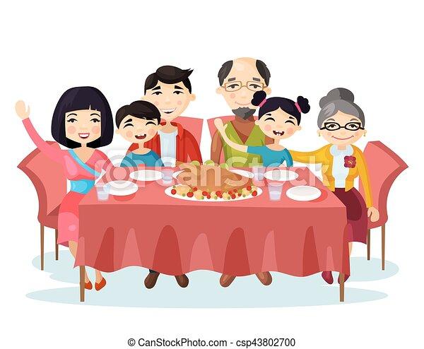 Holiday Dinner With Turkey Of Cartoon Family Vector