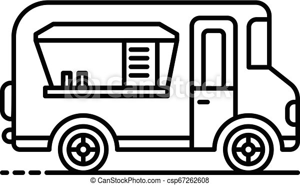 Holiday food truck icon, outline style - csp67262608