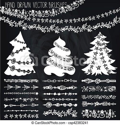 Holiday Garland Brushes Christmas Doodle Kit Chalk Christmas Hand Drawn Brushes Line Border New Year Holiday Doodle