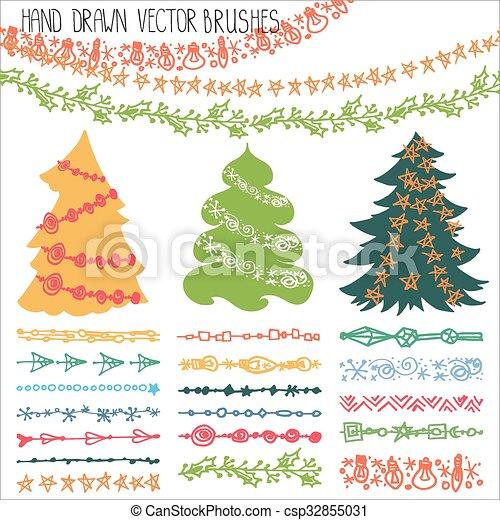 holiday garland brusheschristmas doodle kit csp32855031