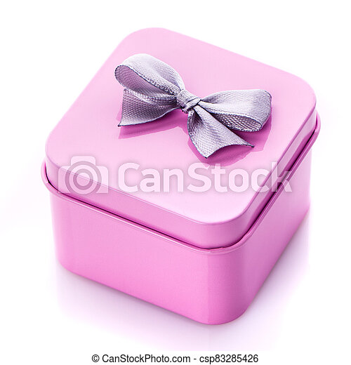 Holiday gift. Pink gift box with bow. - csp83285426
