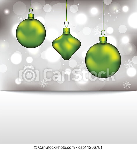 Holiday glowing invitation with Christmas balls - csp11266781
