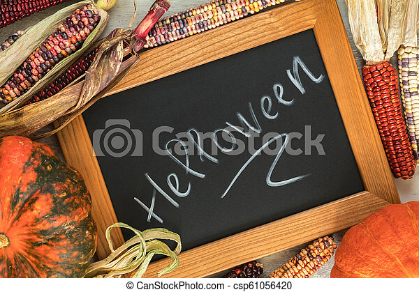 Holiday Halloween background with indian multicolored corn, pumpkin and slate blackboard - csp61056420