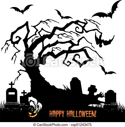 holiday halloween silhouette scary tree without leaves in rh canstockphoto com cemetery clip art free cemetery clipart black and white