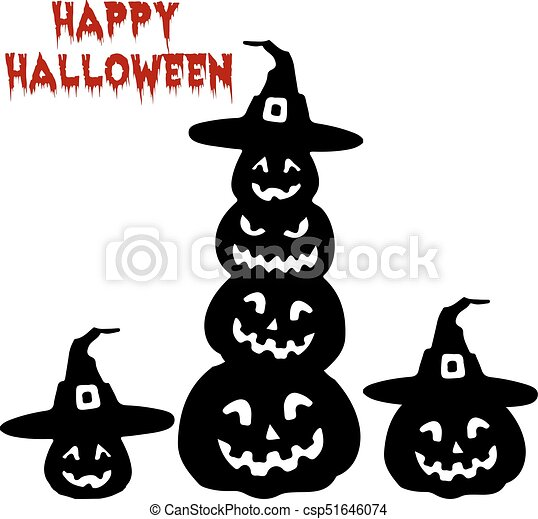 Holiday Halloween,Silhouette collection of pumpkin, cartoon on white  background,