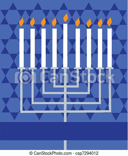 Holiday Hanukkah; lighted Menorah - csp7294012