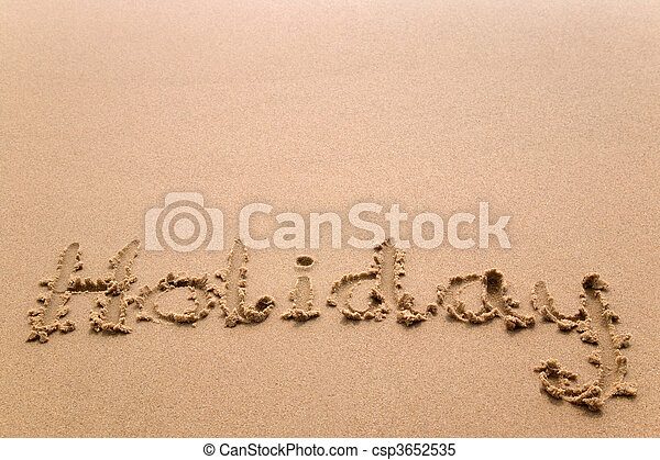 Holiday in sand horizontal - csp3652535