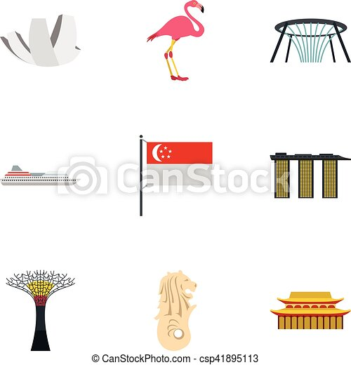 holiday in singapore icons set flat style holiday in singapore