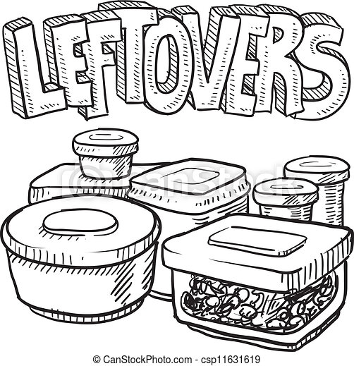 Holiday leftovers food sketch - csp11631619