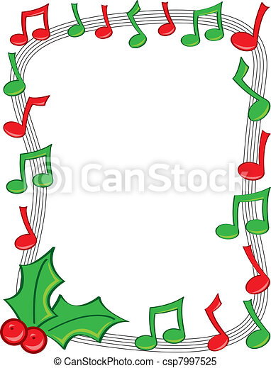 holiday music border a border made of red and green musical notes rh canstockphoto com music note clipart border music note clipart border