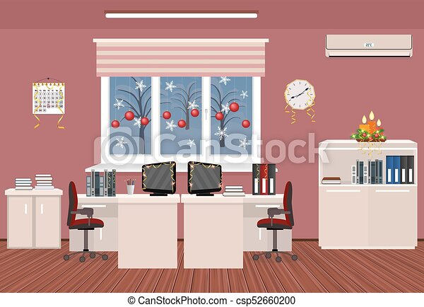 Holiday office room interior. christmas design of working... vector ...