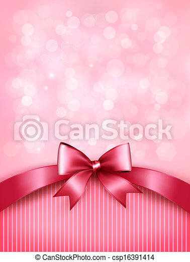 Holiday pink background with gift glossy bow and ribbon. Vector. - csp16391414