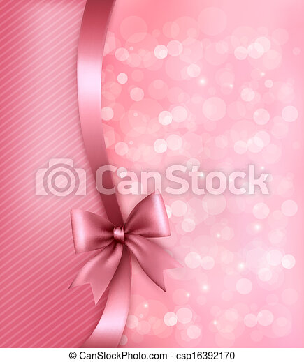 Holiday pink background with old_paper and gift bow and ribbon. Vector - csp16392170