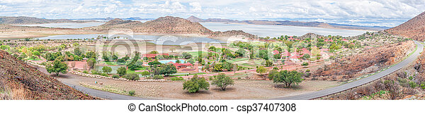 Holiday resort, harbor and yachts in the Gariep Dam - csp37407308