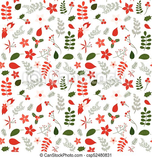 Christmas Designs.Holiday Seamless Vector Pattern With Leaves And Flowers In Green And Red Colors For Christmas Designs Backgrounds And Wrapping Paper